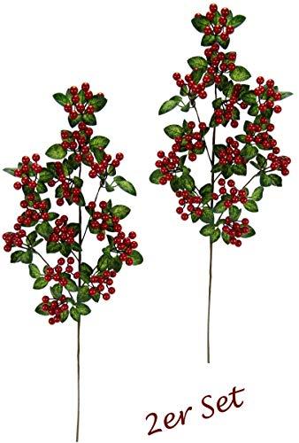 Flair Flower rot Blumen Künstlicher Beerenzweig Deko Zweig mit Beeren und Blätter grün groß Blumenkünstlich Äste für Bodenvase Weihnachtsdeko Floristik Kunstblume Kunstzweig, 66x14x14 cm