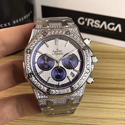 LFJXB Luxusmarke Neue Herrenuhr Quarz Chronograph Mondphase Saphir Edelstahl Voll Diamanten Leuchtend Schwarz Blau Uhren Silber Blau