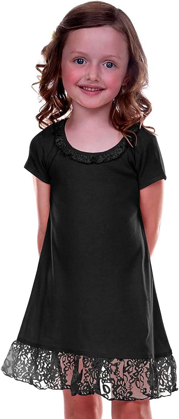 Kavio! Little Girls 3-6X Lace Trim A-Line Short Sleeve Dress