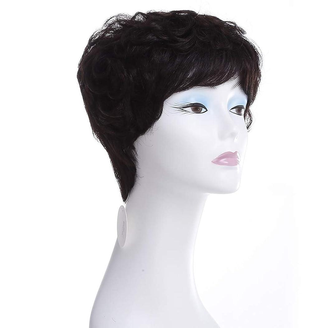 満たすメッセージエラーKoloeplf ヨーロッパとアメリカのショートカーリーヘアウィッグ100%リアルヘアミスターリアルヘアウィッグ (Color : Natural black)
