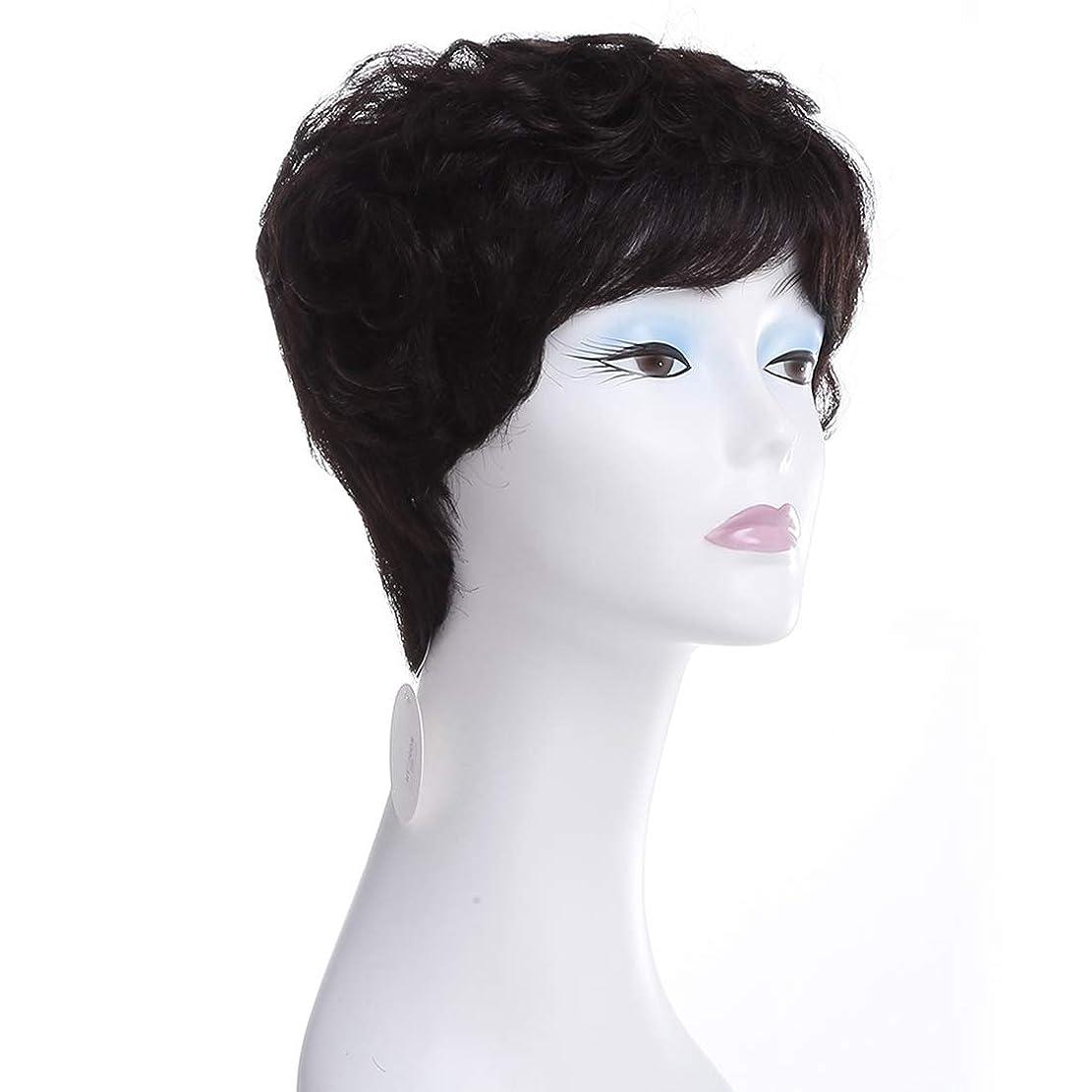 アウター要求するシェルターKoloeplf ヨーロッパとアメリカのショートカーリーヘアウィッグ100%リアルヘアミスターリアルヘアウィッグ (Color : Natural black)