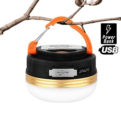 Camping-Laterne, hihill LED Camping-Lampe aufladbar Pro Port USB Kabel, USB und 3Leuchtmodi, 800lm, Mini Taschenlampen Wasserdicht und tragbar für Wandern Fischerei Camping Lampe Notfälle Laterne