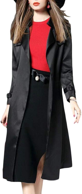EtecredpowCA Women's Split Lapel Neck Pocket Belt Sleek Smooth Windproof Silk Trenchcoats Jacket
