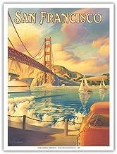 San Francisco, California - Golden Gate Bridge - Marin Headlands - Vintage Style World Travel Poster by Kerne Erickson - Master Art Print - 9in x 12in