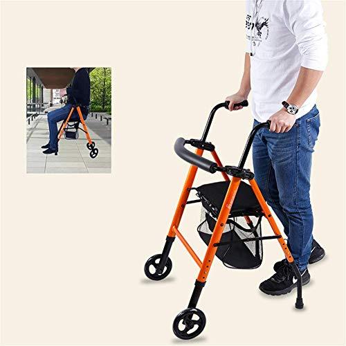 JALAL Vierrad Rollator Shopping Trolley Walker Gehhilfe mit Sitzlehne Höhenverstellbarer Rollator aus Aluminium