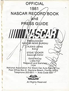 2X AUTOGRAPHED 1981 Tim Richmond & Lake Speed #27 Folgers Driver OFFICIAL NASCAR RECORD BOOK & PRESS GUIDE (Front Page) Vintage Signatures Dual Signed NASCAR Collectible with JSA COA