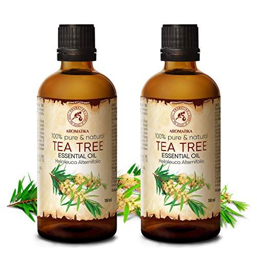 Tea Tree olie set - 2x etherische olie 100ml, 100% puur & natuurlijk, essentiële olie - aromatherapie - geurolie - geurverspreider - ontspanning - toevoegen aan bad & cosmetica - massage - wellness - aroma lamp of elektrische diffuser