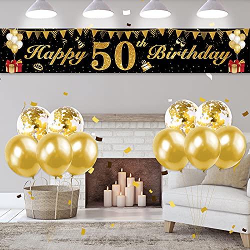 KAINSY Decoration Anniversaire 50 Ans, Banderole Joyeux Anniversaire Garçon, 50 Ans Décoration Bannière Noir Or, Anniversaire Bannière Noir Or Confettis Ballons pour Décorations De Fête Anniversaire