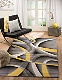Summit 21 New Yellow Grey Area Rug Modern Abstract Many Sizes Available (3'.6'' x 5'), 3'.6'' x 5'