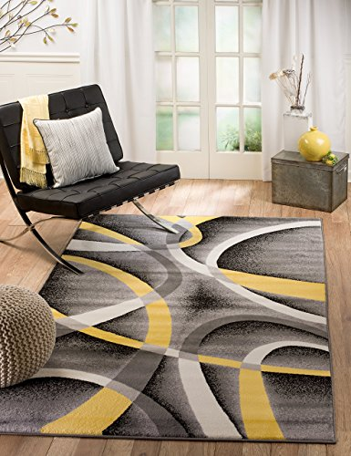Summit 21 New Yellow Grey Area Rug Modern Abstract Many Sizes Available , 4'. 10'' x 7'. 2''