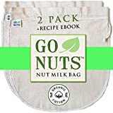 2-PACK 100% ORGANIC COTTON Nut Milk Bag - Restaurant Commercial Grade by GoNuts - 12'x12' Cheesecloth Strainer Filter For Best Almond Milk, Celery Juicing, Cold Brew Coffee, Tea, Yogurt, Tofu