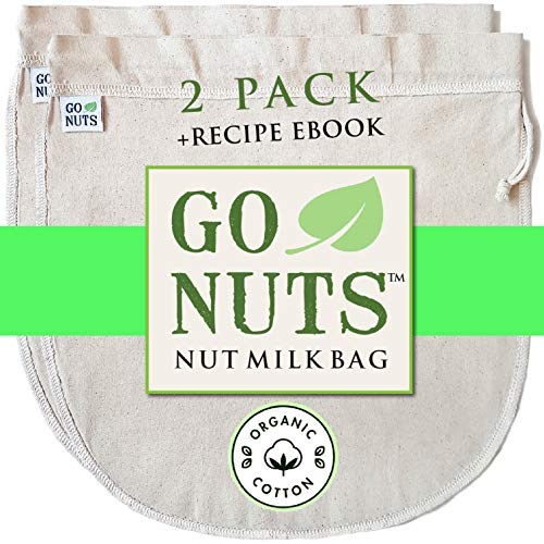 2-PACK 100% ORGANIC COTTON Nut Milk Bag - Restaurant Commercial Grade by GoNuts - 12