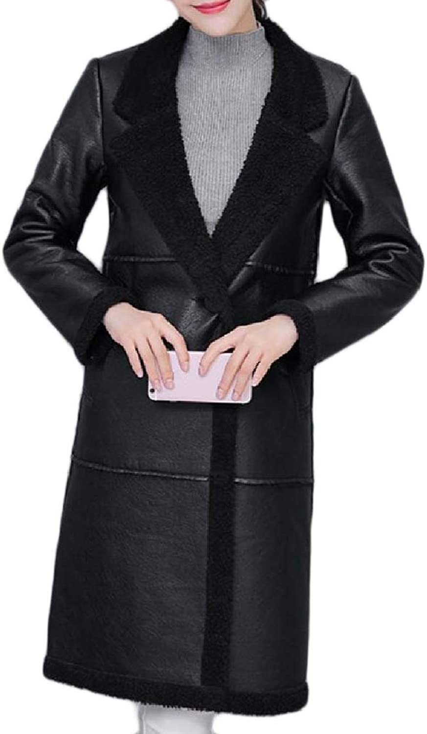 color&W Women's Velvet Stylish Pocketed Fit Warm MidLong Lapel Outwear Coat