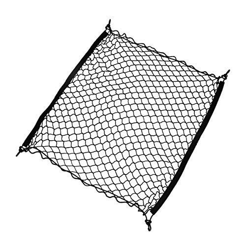 Zone Tech Cargo Net Trunk Organizer- Rear Elastic Universal Fit, Black Adjustable 4 Hook Storage Stretchable Mesh for Car, Van and SUV