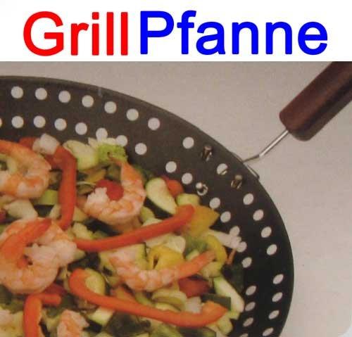 Land-Haus-Shop grillpan van metaal met afneembare greep 32 cm, barbecue grill groente pan (LHS)