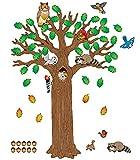 Carson Dellosa Woodland Bulletin Board Set—Seasonal Tree Cutout With Forest Animals, Autumn Leaves, Acorns, Elementary Classroom and Homeschool Decorations (120 pc)