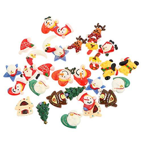 EXCEART Adornos Artesanales en Miniatura de Resina de Navidad con Parte Posterior Plana para Manualidades Que Hacen Recortes de Decoración 30 Piezas