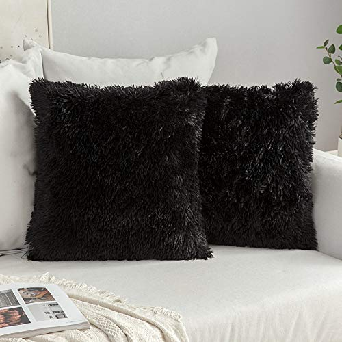MIULEE Faux Fur Cushion Covers Fluffy Throw Pillow Case Soft Decorative Square Cute Pillow Plush Case For Livingroom Sofa Bedroom 18 x 18 Inch 45 x 45 cm Black Pack of 2