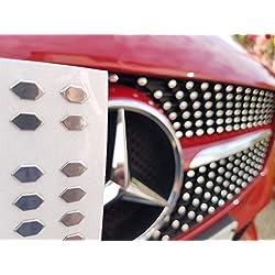 Pegatinas cromadas con forma diamante para parrilla del coche
