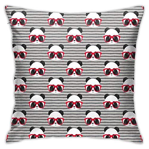 Funda de almohada, diseño de pandas con gafas, moderna funda de cojín cuadrada, decoración para sofá, cama, silla, coche, 45,7 x 45,7 cm