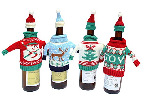 Fashionclubs Christmas Wine Bottle Knitted Ugly Sweater Covers Set,Set of 4