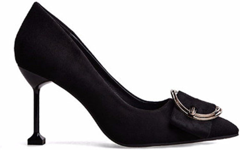 Coollight Women's Metal BuckleTie Suede Stiletto Heel Kitten Heels Shallow Mouth shoes Pumps