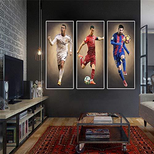 Póster de la gran estrella de fútbol del jugador de fútbol de la pintura e impresiones arte de la pared para la sala de estar decoración del hogar cuadros sin marco/40 x 80 cm x 3