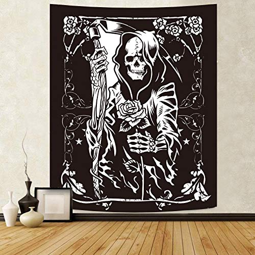 Skull Wall Hanging Floral Tapestry Gothic Tarot Card Tapestry Death theme Black Tapestry Art Home Decor for Bedroom Living Room50x60inch