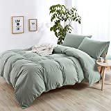 MICBRIDAL Modern Style Solid Color Green Duvet Cover Queen Soft Comfy 100% Washed Cotton Green Bedding Set with 2 Pillowcases Simple Luxury Green Comforter Set with Zipper 4 Ties (NO Comforter)