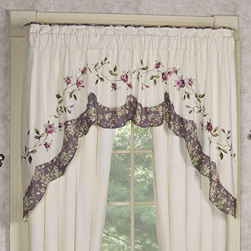 Touch of Class Ambrosia Embroidered Heirloom Contour Swag Valance Violet Valance 72 x 36