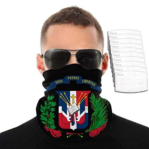 Zeyustge - Polainas para el cuello, diseo de bandera dominicana, para deportes al aire libre con filtro