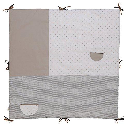 P'tit Basile - Tapis matelas de parc - tapis d'éveil - 100x100 cm - avec nouettes - Coton Bio - Little dreams