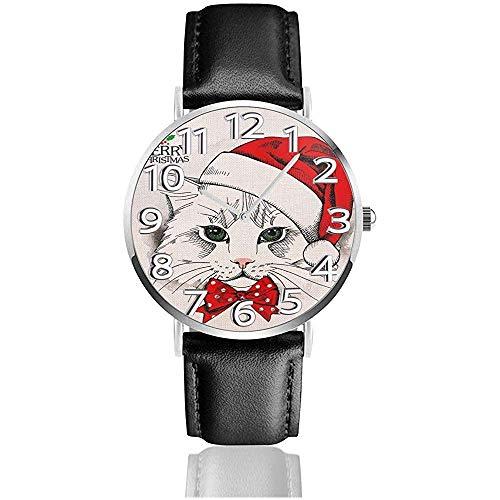 Merry Christmas Cat Kitten Watches Orologio da polso al quarzo in pelle PU