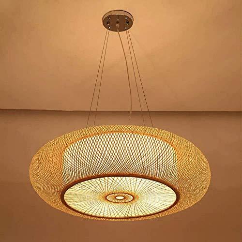 Bamboo Chandelier Vintage Handmade Rattan Lampshade, Hanging Lamp for Living Room, Bedroom, Dining Room, Lantern, 40cm