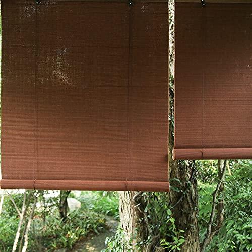 HWLL Persiana Enrollable Persianas Enrollables de Sombra Impermeable Exterior, 60cm / 80cm / 90cm / 100cm / 120cm / 125cm / 130cm / 135cm / 140cm / 145cm de Ancho Cortina Enrollable de Bambú Marrón