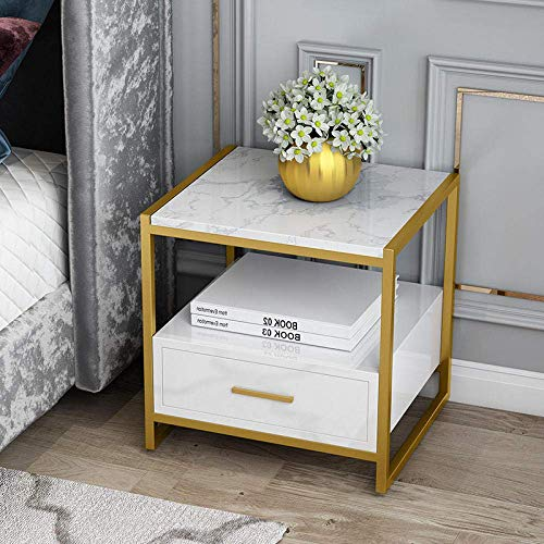 Modern Coffee Table Living Room Bedside Table Marble Bedroom Sofa Cabinet Double Storage Table With Drawer Office Furniture-White