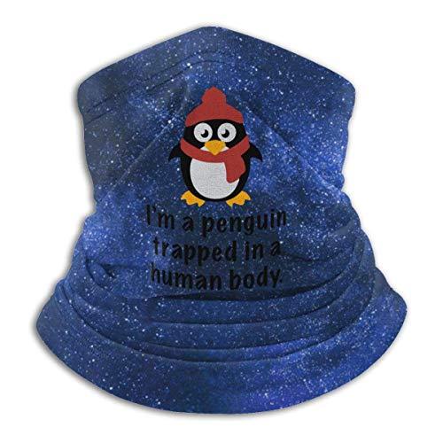 Ich bin ein Pinguin, der in einer menschlichen Körpermaske gefangen ist. Huthalsschal, Wärmeisolierung, Vielseitigkeit und Stil. Mikrofaserstruktur und komfortabel