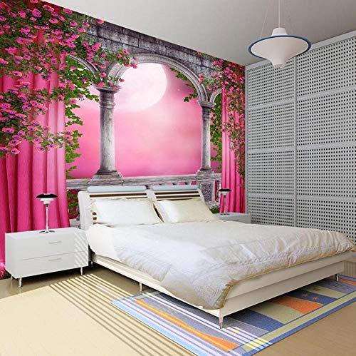 Gebogen deur roze gordijn 3D kamer muur papier glitter behang voor muren 3D Woonkamer Vintage Decal Papel De Parede Pintado 3D behang 400 * 280 400 * 280
