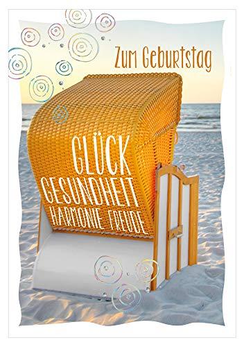 KE - Maritim Geburtstagskarte - Klappkarte zum Geburtstag - im Format DIN B6 - Klappkarte inkl. Umschlag - Motiv: Strandkorb