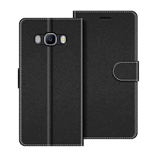 COODIO Funda Samsung Galaxy J7 2016 con Tapa, Funda Movil Samsung J7 2016, Funda Libro Galaxy J7 2016 Carcasa Magnético Funda para Samsung Galaxy J7 2016, Negro