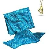 AOOK Mermaid Tail Blanket Homemade Warm Sofa Quilt Super Soft Crochet All Seasons Sleeping Blankets,Handmade Mermaid Tail Blanket for Adults (Blue 195CMX95CM)