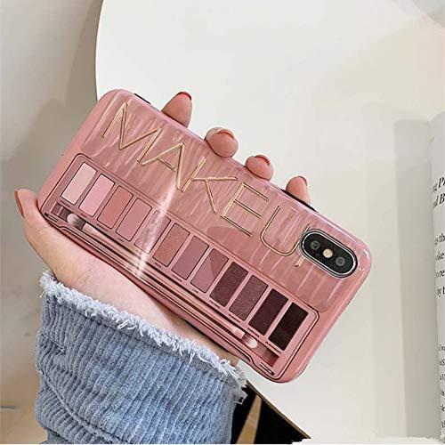 ZJHHH penseel ontwerp telefoonhoesje voor iPhone 7 8 X XR XS MAX oogschaduw palet doos glanzende siliconen cover voor iPhone 6S 6 7 8 Plus