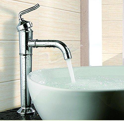 Sunsui neue Full-Messing Chrom plus hoch und kalte Wasser kann auf der Werkbank Waschbecken Waschtisch Waschtisch Armatur gedreht werden