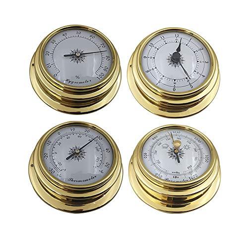 YIAI Wetterstation Set 4pcs Wand Barometer Uhr Tragbares Messgerät Marine Boot Kit 98mm Thermometer Hygrometer Zubehör Mini Tool Genau