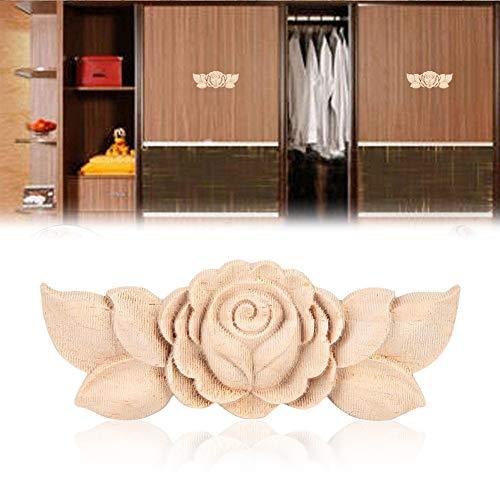 Applique in legno stile vintage intagliato fiore angolo onlay per la casa porta armadio non verniciato mobili Decor 4 pezzi (1#)