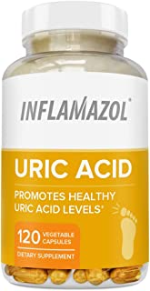 Inflamazol Uric Acid Cleanse | Powerful Uric Acid Cleanse to Promote Healthy Uric Acid Levels – Target Associated Pain & Discomfort, Gout, Joint Support - 120 Vegetarian Capsules (1 Bottle)