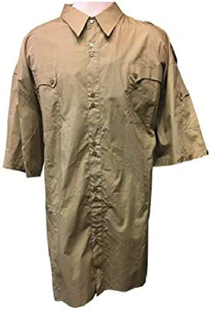 Knockout Jeans Big and Tall High Fashion Tan Epaulets Button Down Shirt with Extra Pockets