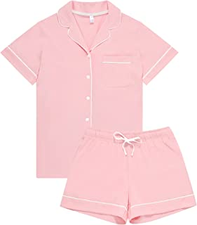 HEARTNICE Pajamas for Women Cotton, Button Down Pajama Shorts Set Soft Summer Solid Pjs Sets
