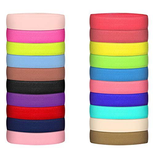 Fold Over Elastic Stretch Foldover FOE Elastics Solid Color Elastic Trim Sewing Ribbon for DIY Hair Ties Headbands Hair Bows, 20 Colors (50 Yards)