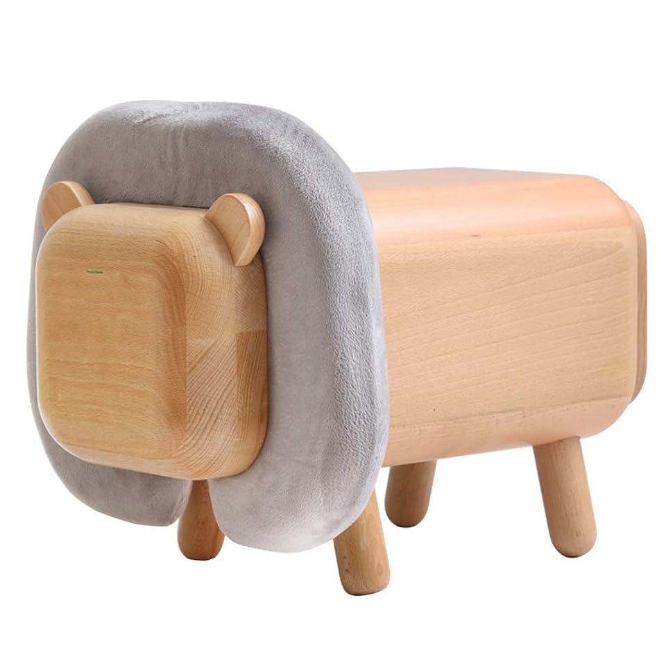 無し胚芽方法木製の収納ボックス折りたたみポータブルオットマン収納スツール、スペースの屋内の残りを保存する (色 : Lion)